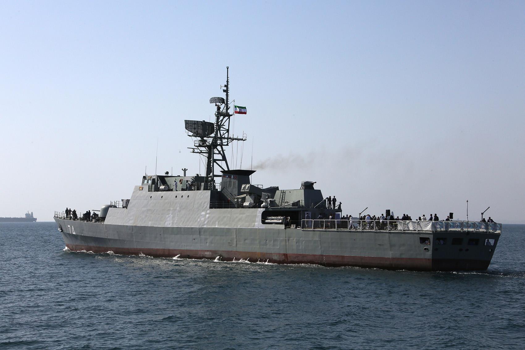 Iranian navy ship in Strait of Hormuz
